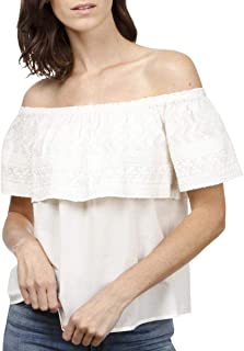 Lucky Brand Women's EMBROIDERED OFF THE SHOULDER TOP Shirt