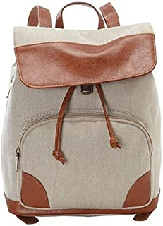 Canvas Vintage Double Shoulder Backpack Womens Mens Waterproof Leather Laptop Canvas Bag Casual Fashion for School Outdoor...