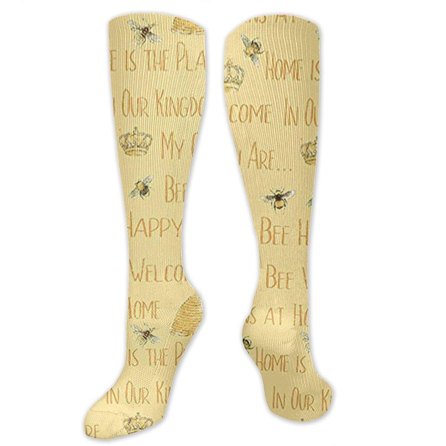 獣泥棒センチメンタル靴下,ストッキング,野生のジョーカー,実際,秋の本質,冬必須,サマーウェア&RBXAA Bee My Sunshine Words Yellow Socks Women's Winter Cotton Long Tube Socks Knee High Graduated Compression Socks