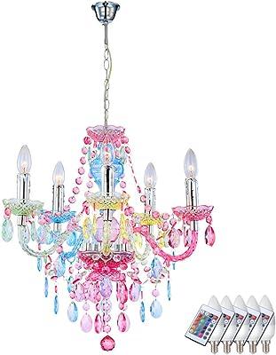 Hänge Lampe Kronleuchter Luster dimmbar Fernbedienung multicolor im Set inkl. RGB LED Leuchtmittel