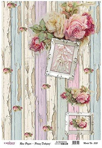 Papel de Arroz Cadence Rosas Shabby Chic 30x41 cm.