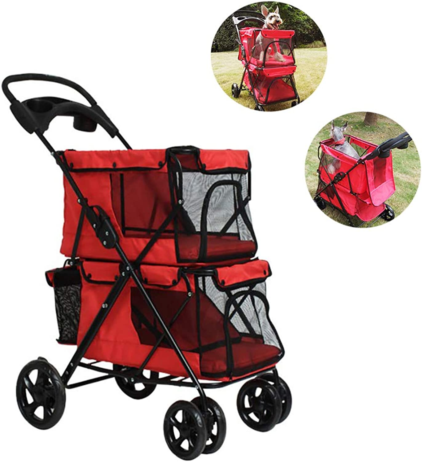 DJLOOKK Pet Stroller Lightweight Folding Double Easy To Carry Sunscreen Breathable Comfort Pet Stroller Dog Big Space Trolley Cage Four Round Outdoor Travel,Red