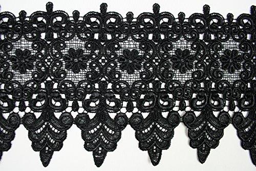 10 Colors Floral Embroidered Scalloped Venise Guipure Applique Lace Trim (Black)