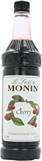 Monin Flavored Syrup, Cherry, 33.8-Ounce Plastic Bottle (Pack of 4)