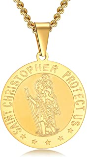 Saint Christopher Necklace for Men Women,Oval Catholic St Christopher Medal Pendant Jewelry Boy Girl Outdoor Traveler Meda...