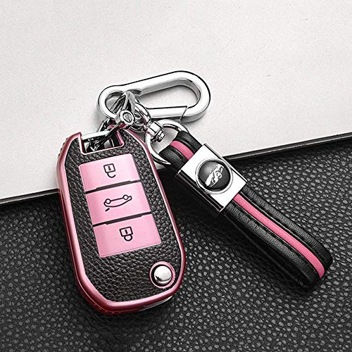 Caso De La Llave del Coche, For Peugeot 3008, 308 5008 508 Citroen Ds3 Ds4 Ds5 C4 Cactus Key Cover In TPU and Leather Protective Case Keychain 3 Buttons Foldable - RedPink