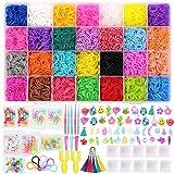 Gomas para hacer pulseras 11220+ pcs Kit, 11000 con 28 Colores gomas pulseras niña ,500 Clips, 40 dijes ,5 agujas de crochet, 2 telares en forma de YPara Hacer Pulseras De Colores Kit