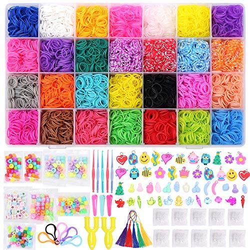 11220+ Loom Bands Refill Kit for Kids, 10,500 Loom Bands 28 Colors,500 S-Clips, 175 Beads,34 Charms, 5 Crochet Hooks,2 Y Shape Loom,5 Backpack Hooks,5 Tassels