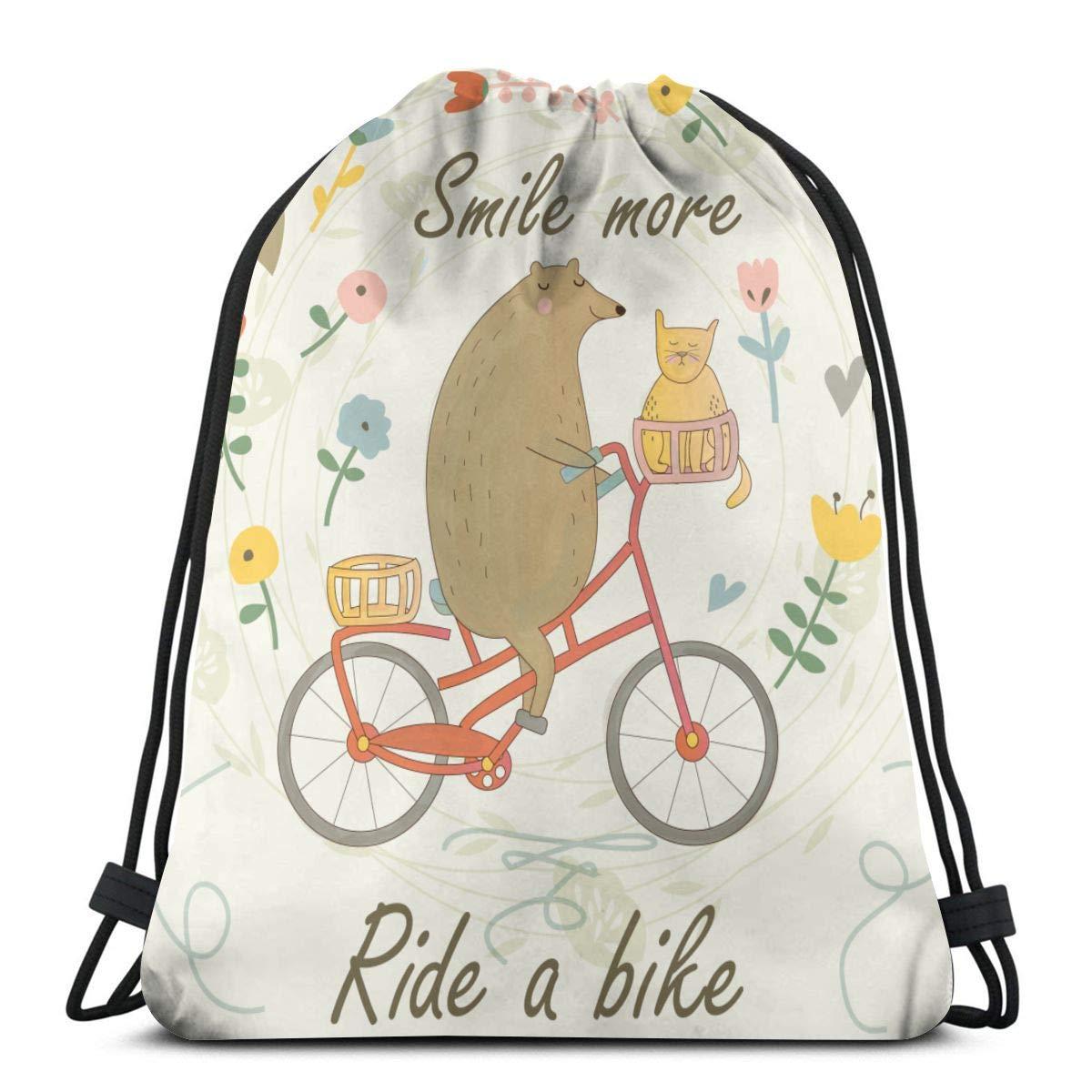 Sunny R Lindo Oso Montando una Bicicleta con un Gato y una Bolsa ...