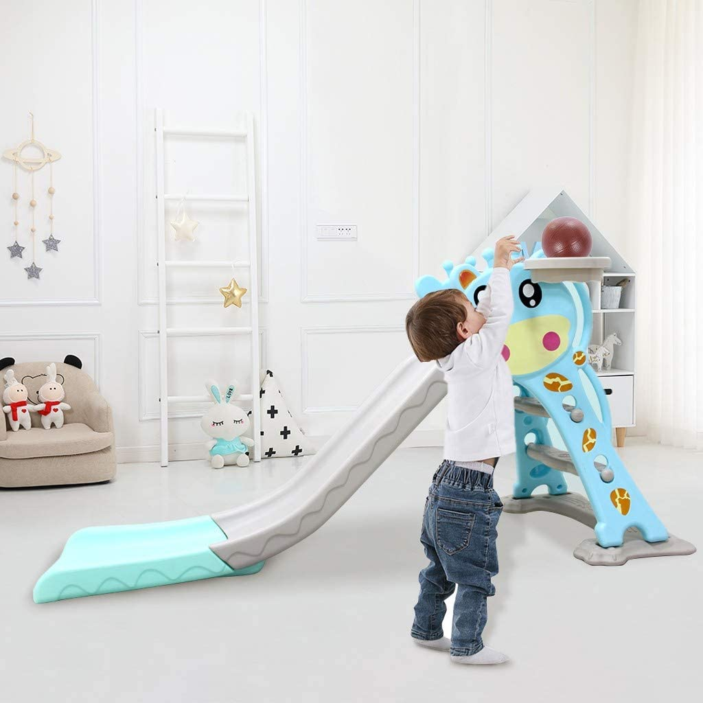 QUYUON Kids Climber Slide Folding Toddler Indoor and Outdoor Freestanding Slipping Slide Playset Baby Playground with Basketball Hoop Extra Ball Blue Easy Setup