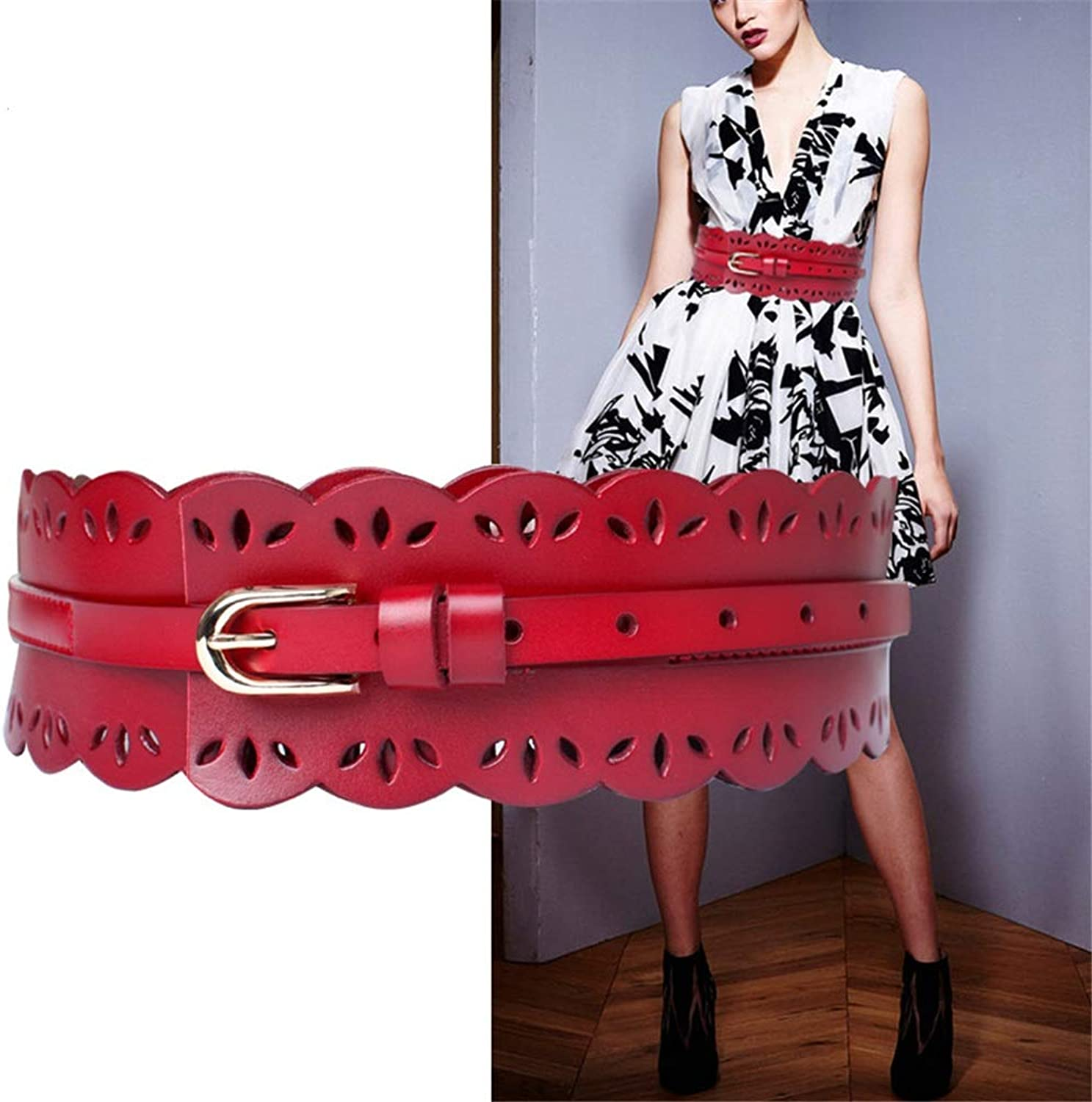 Canvas Belt Women's Leather Girdle Hollow Carved Flower Pin Buckle Super Wide Girdle (color   Red)
