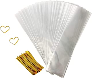 Cellophane Goody Bags 200 PCS Clear Treat Bags Pretzel Bags for Party Favor Candies Goodies Bags with 200 PCS Metallic Twist Ties (2.4 by 10 Inch)