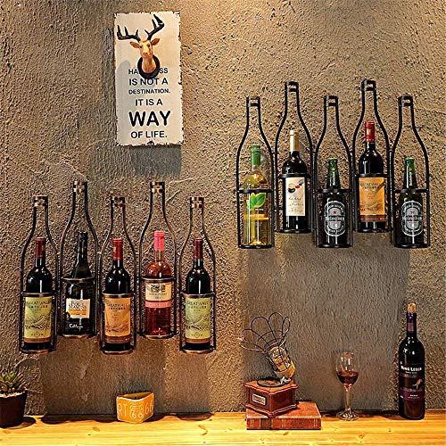 BXU-BG Estante de vino simple y creativo de hierro forjado para colgar en la pared del restaurante o del vino, para el hogar, para vino o vino (color: negro, tamaño: 63 x 12 x 49 cm)