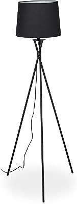 Relaxdays Lampadaire trépied, lampe tripode avec abat-jour en tissu, luminaire E27, industriel, HxD: 158 x 61 cm, noir