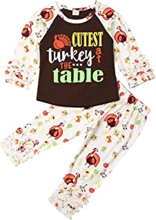 Seyurigaoka Toddler Kids Baby Girl Thanksgiving Outfits Long Sleeve Turkey Top Blouse Icing Ruffle Pants 2Pcs Fall Clothes Set
