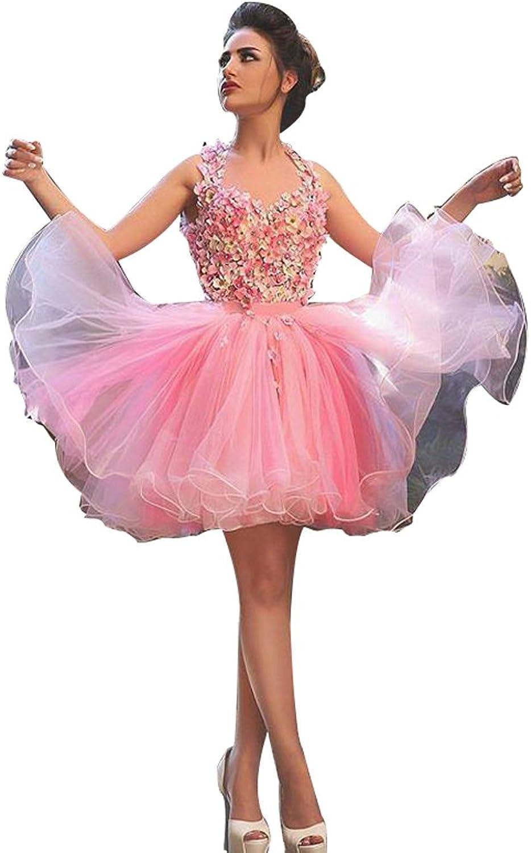 LISA.MOON Women's Hand Made Flower Tulle Backless Keen Length Homecoming Dresses