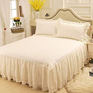 AMYDREAMSTORE Lace Bed Wrap Fitted Bedskirt Bedspread Easy Fit Dust Ruffle Pricess Romatic Bed Skirt Sheet Cotton Drop Dust Ruffle-b 180x200cm(71x79inch)