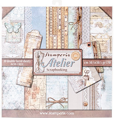"""Stamperia Double-Sided Paper Pad 12""""X12"""" 10/Pkg-Atelier, 10 Designs/1 Each"""