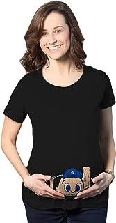 Crazy Dog T-Shirts Maternity Peeking Baseball Player Baby Funny Pregnancy Gift T Shirt