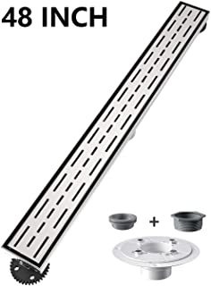 Ushower 48 Inch Rectangular Linear Drain for Shower with Shower Drain Base Flange, Brick Grate Cover Linear Floor Drain Brushed Nickel, Shower Bathroom Drain with Leveling Feet, Threaded Adapter