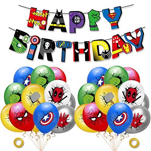 Decoracion Cumpleaños Superheroes Globos de Superheroes Feliz Cumpleaños del Pancarta Superhéroes