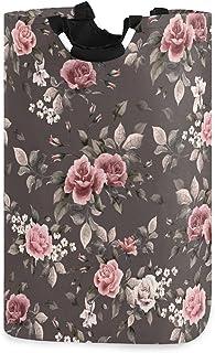 LDIYEU Fleur Rose Noire Grand Panier à Linge Pliage Étanche Rangement Corbeille à Linge avec Poignées pour Maison Buanderie