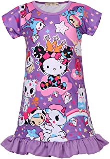 090ce9676 Girls' Hello Kitty Sleepdress Unicorn Short Sleeve Dress for 3-7Y Girls