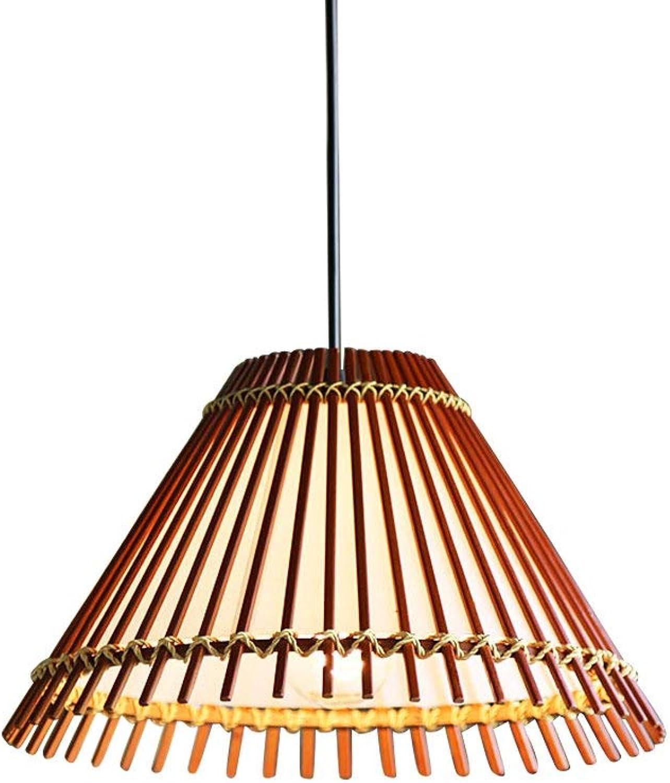 Américain Style Pastoral Unique Tête Suspension Lampe Creative Fan Bambou en Bois Style du Sud-Est Asiatique Individualité Chambre Bureau Salon Restaurant Café Thème éclairage Décoratif
