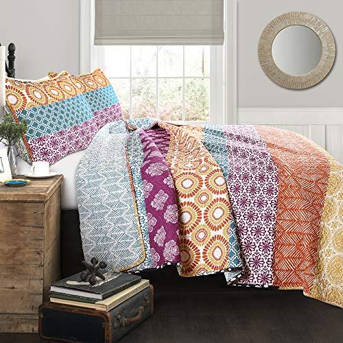 Lush Decor Lush Décor Fuchsia & Orange Bohemian Striped Quilt Reversible 3 Piece Colorful Boho Design Bedding Set Full Queen