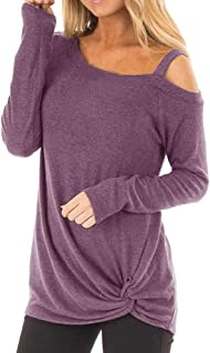Clearance Forthery Womens Casual Cold Shoulder Long Sleeve Knot Side Blouse Top T-Shirts
