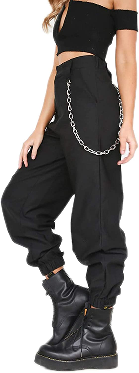 WSLCN Women Cargo Combat Trousers Relaxed-Fit Casual Pants Camo Combat Work Pants Baggy Hip Hop Dance Trousers with Chain
