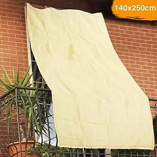 BAKAJI 2832417 - Lona Parasol de Hdpe Resistente, protección UV 90% para balcón y Porche con Anillas de Enganche, Beige, 140 x 250 cm