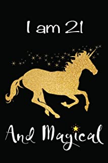 I am 21 and Magical: 21st Happy Birthday Gift for Her ~ Beautiful Rose Gold Unicorn Blank Lined Small Diary Notebook 6