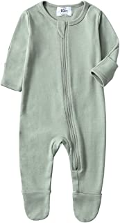 Baby Boys Girls Organic Cotton Zip Front Sleeper Pajamas, Footed Sleep 'n Play