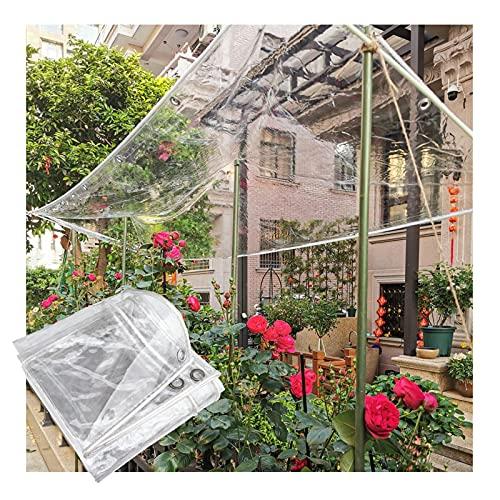 JIANFEI Lona Transparente, CLORURO DE POLIVINILO Exterior Jardín Impermeable Cubrir con Ojal 550 G / ㎡ Aislamiento Mantener Caliente Pantalla por Balcón Patio Techo (Color : Claro, Size : 2x2m)