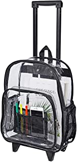 Rolling Clear Backpack, Heavy Duty See Through Bookbag, Transparent PVC Cold-Resistant Backpack with Wheels (Black)