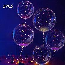 Slopow LED Bobo Globos Transparente 5 Piezas con LED Globos de Látex Decoración para Cumpleaños Fiesta Boda Navidad Muticolores