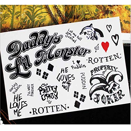 UPUPUPUP Impermeables Pegatinas de Tatuaje Temporal Suicidio Escuadrón Harley Quinn Joker Payaso Falso Tatoo Tatouage Flash Tatto para Mujeres Chica Hombre