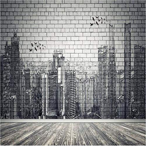 Hyllbb Fototapete Moderne Stadt Fototapeten 3D Brick Stone Wallpapers Für Wohnzimmer Schlafzimmer Tapeten Wohnkultur Vintage Black Street Wandbild-280Cmx200Cm