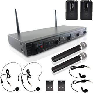 4 Channel Wireless Microphone System - Portable UHF Audio Mic Set with 2 Handheld, 2 Headset, 2 Lavalier Mics, 2 Transmitter, 8 'AA' Battery, Power Adapter - For Karaoke, PA, DJ - Pyle PDWM4540