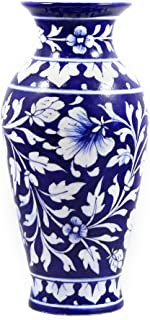 India Meets India Handmade Ceramic Flower Vase, eco Friendly Pot for Decorative Home, Offices, Best for Gifting, Made by Awarded/Certified Indian Artisan