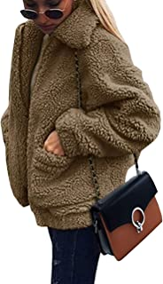 Women's Fashion Long Sleeve Lapel Zip Up Faux Shearling Shaggy Oversized Coat Jacket with Pockets...