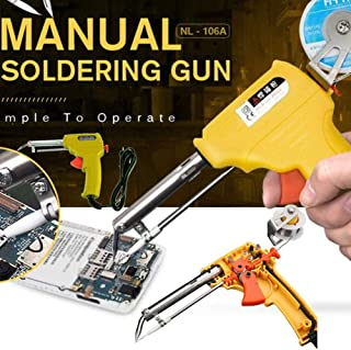Soldering Iron Gun Kit Auto Welding Automatic Adjustable Solder Tool Fast Heating for Soldering Electronics, Cutting Materials, Wood Engraving, Plumbing(US Plug)