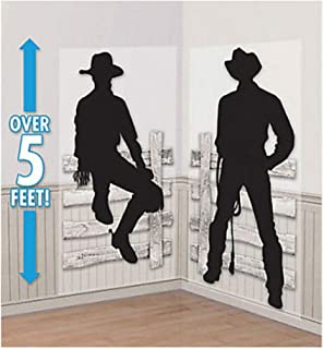 WESTERN COWBOY Scene Setter wild west party wall decor kit 5' silhouettes fence