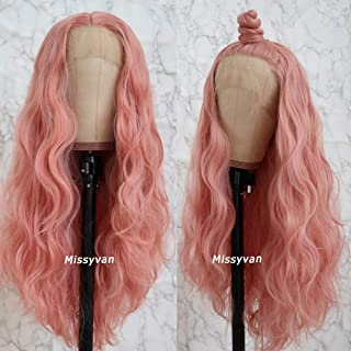 Missyvan Long Loose Wave Hair Pink Color Lace Wigs Glueless Heat Resistant Fiber Hair Synthetic Lace Front Wigs for Fashion Women Natural Hair Line And Baby Hair