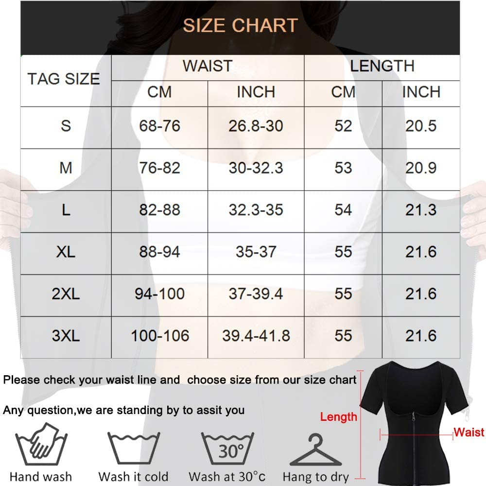 Women Neoprene Vest with Sleeves Weight Loss Sauna Suit Hot Sweat Workout Shirt Slimming Body Shaper Waist Trainer Top