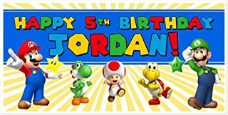 Super Mario Brothers Birthday Banner Personalized Party Backdrop Decoration