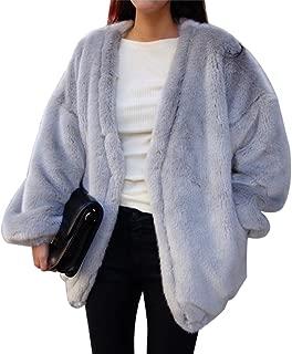 ZLSLZ Womens Winter Faux Fur Oversize Boyfriend Loose Leopard Outerwear Coat Jackets