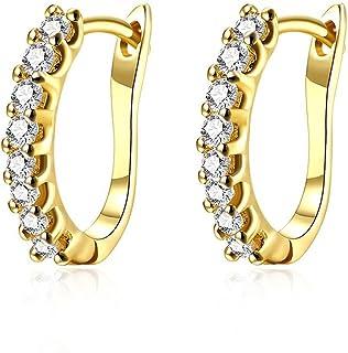 14k White Gold Plated Small Hoop Earrings for Women Huggie Earrings Piercings with Clear..