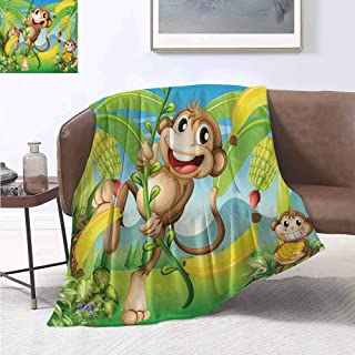 jecycleus Nursery Rugged or Durable Camping Blanket Two Monkeys Near The Banana Plant Tropical Nature Landscape Vine Funny Animals Apes Warm and Washable W54 by L72 Inch Multicolor